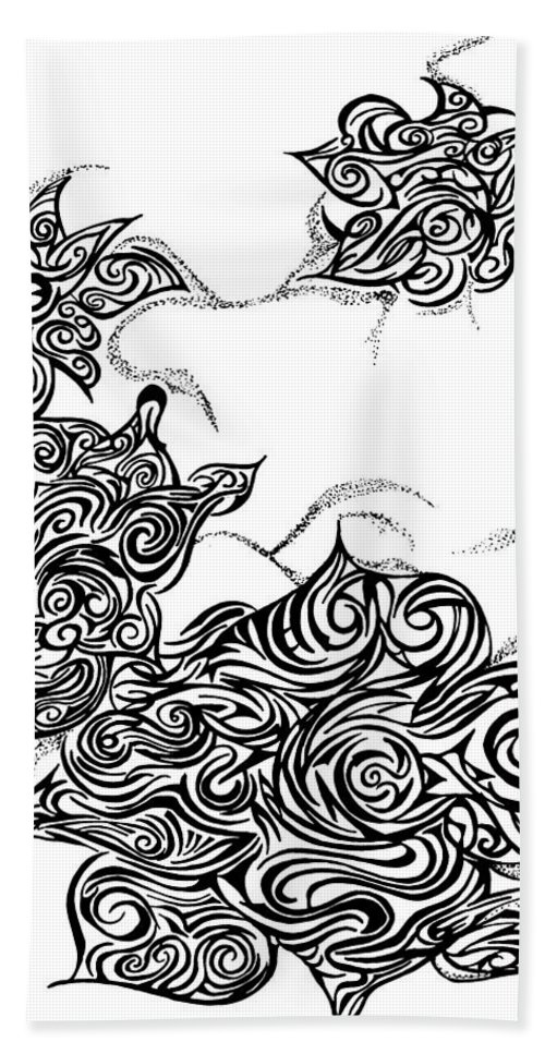 Flower Beach Towel featuring the drawing Bloooming by Michael Halliday
