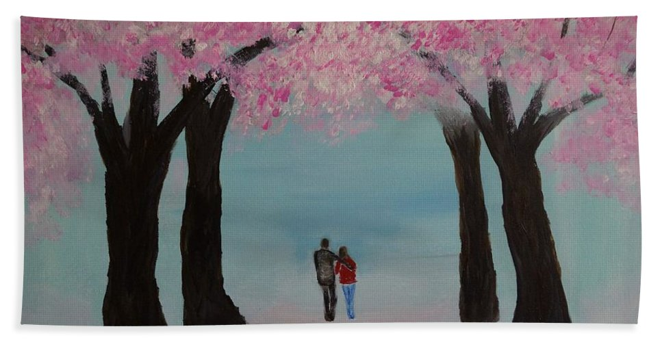 Couple Canvas Prints Beach Towel featuring the painting Blossoming Romance by Leslie Allen