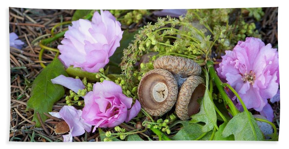 Flowers Beach Towel featuring the photograph Blossoms And Acorn by Charles Robinson