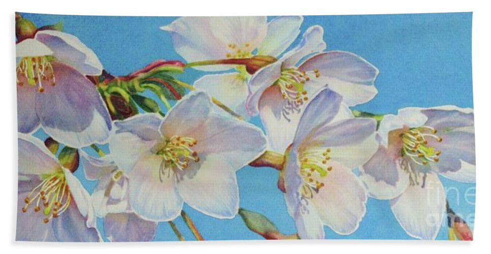 Blossoms Beach Towel featuring the painting Blossoms by Greg and Linda Halom