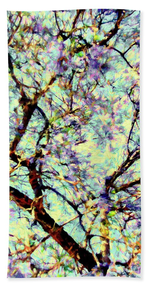 Cherry Blossoms Beach Towel featuring the digital art Blossoms Up by Davy Cheng