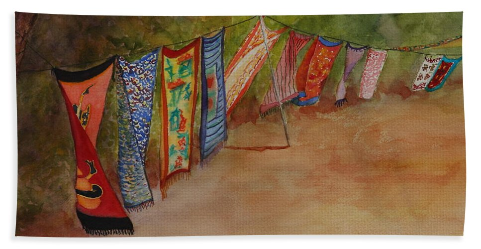 Sari Beach Towel featuring the painting Blowin' In The Wind by Ruth Kamenev