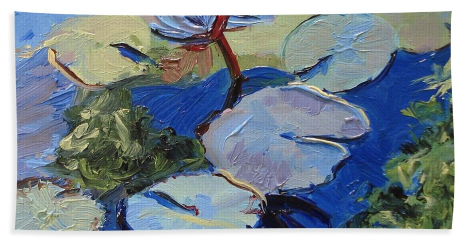 Lilies Beach Towel featuring the painting Blu I by Barbara Andolsek