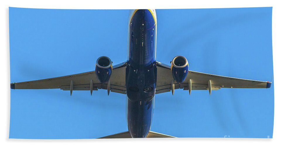Aircraft Beach Towel featuring the photograph Blue Airplane Takeing Off by Benny Marty