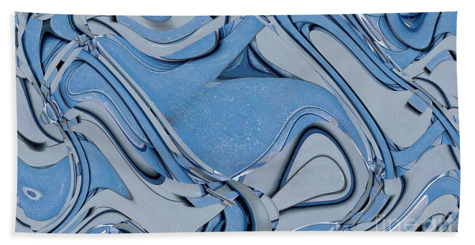Digital Art Beach Towel featuring the digital art Blue And Gray by Ron Bissett