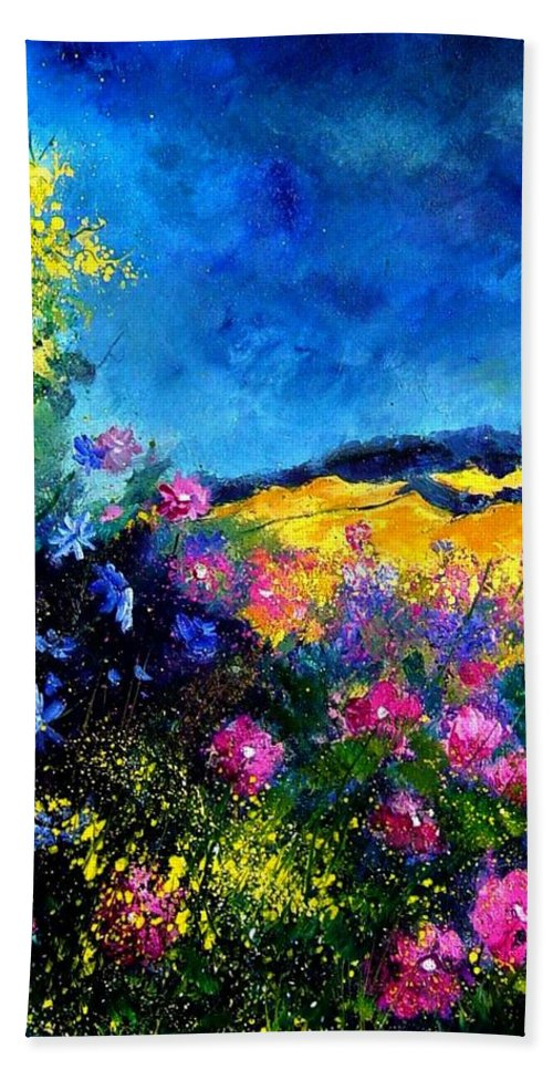 Landscape Beach Sheet featuring the painting Blue And Pink Flowers by Pol Ledent