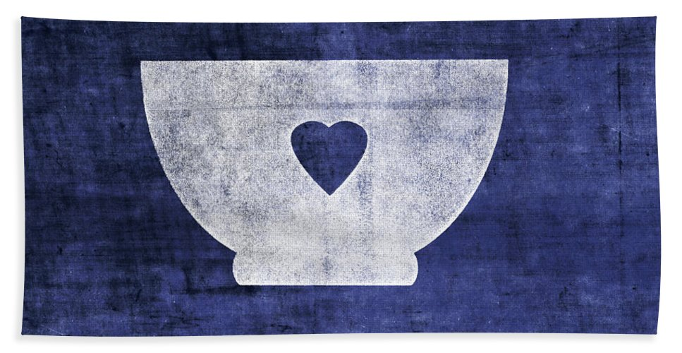 Bowl Beach Towel featuring the mixed media Blue And White Bowl- Art By Linda Woods by Linda Woods