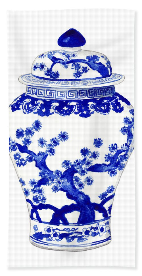 Blue And White China Beach Towel featuring the painting Blue And White Ginger Jar Chinoiserie 10 by Laura Row