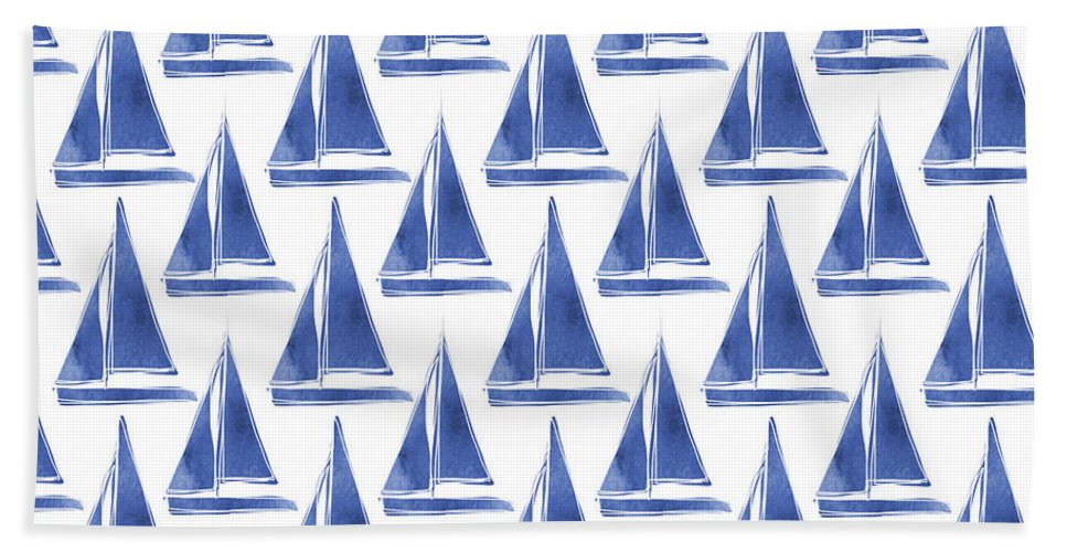 Boats Beach Towel featuring the digital art Blue And White Sailboats Pattern- Art By Linda Woods by Linda Woods