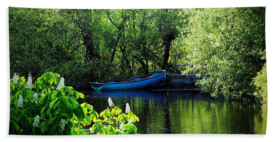 Irish Beach Sheet featuring the photograph Blue Boat Cong Ireland by Teresa Mucha