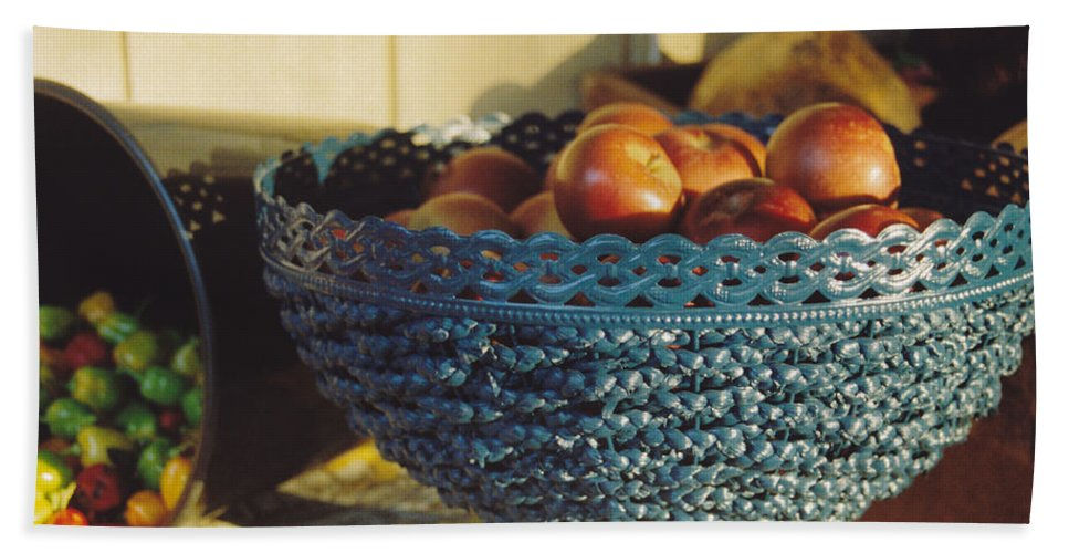 Still Life Beach Towel featuring the photograph Blue Bowl by Jan Amiss Photography