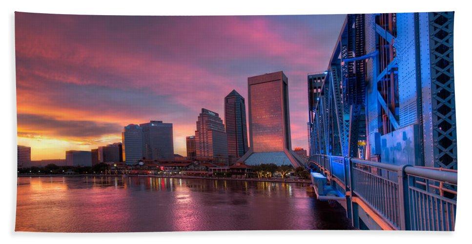 Clouds Beach Towel featuring the photograph Blue Bridge Red Sky Jacksonville Skyline by Debra and Dave Vanderlaan