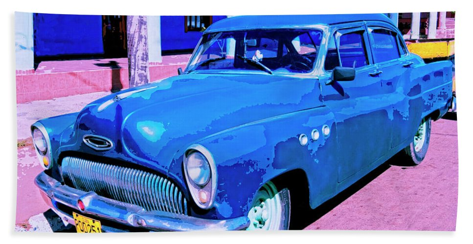 Blue Buick Beach Towel featuring the mixed media Blue Buick by Dominic Piperata