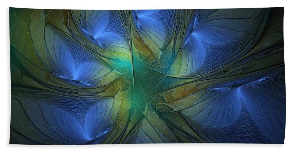 Digital Art Beach Towel featuring the digital art Blue Butterflies by Amanda Moore