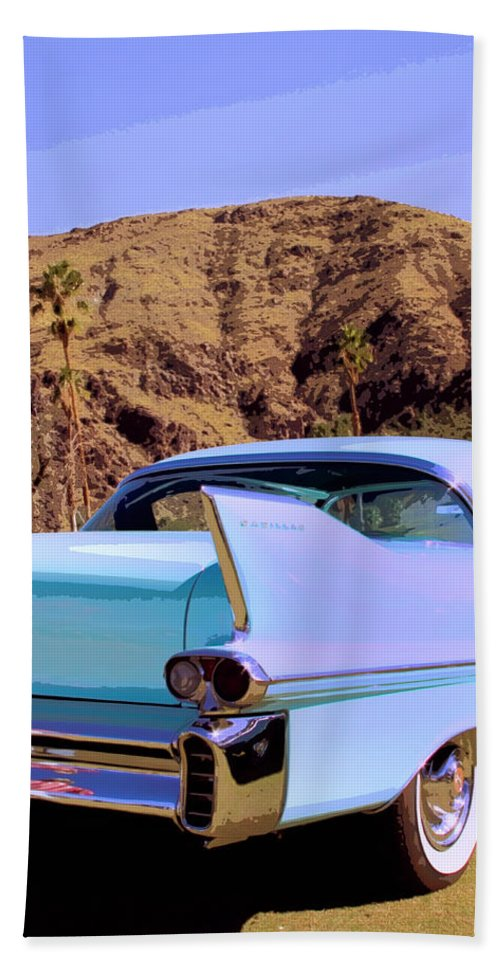 Cadillac Beach Towel featuring the photograph Blue Cadillac by William Dey