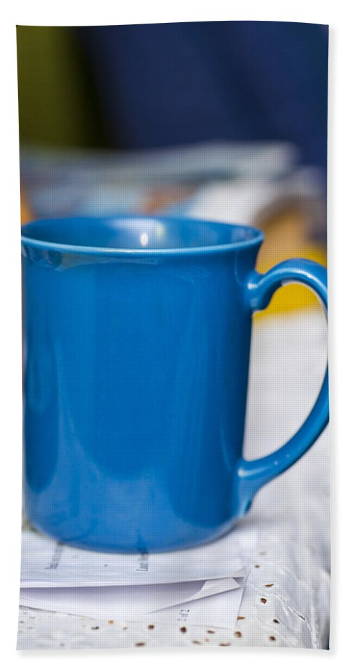 Coffee Beach Towel featuring the photograph Blue Coffee Cup by Donald Erickson