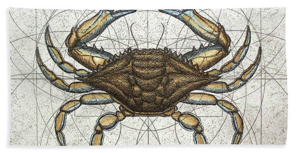 Maryland Beach Towel featuring the painting Blue Crab by Charles Harden