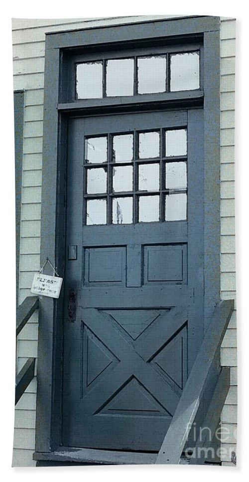 Door Beach Towel featuring the painting Blue Door At The Seaport by RC DeWinter