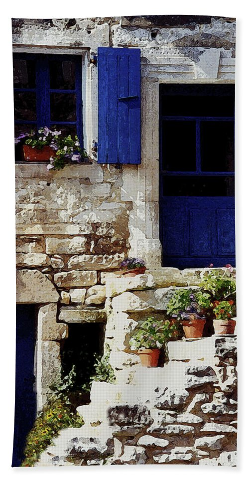 France Beach Towel featuring the photograph Blue Door Provence by Debbie Groff