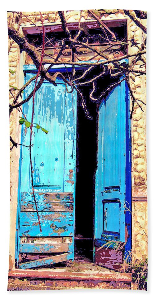 Blue Doors Beach Towel featuring the mixed media Blue Doors In Tuscany by Dominic Piperata