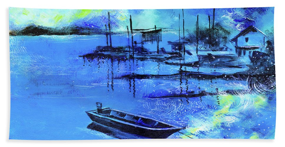 Nature Beach Towel featuring the painting Blue Dream 2 by Anil Nene
