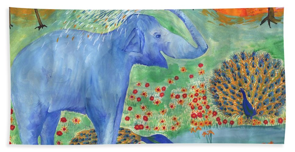 Elephant Beach Towel featuring the painting Blue Elephant Squirting Water by Sushila Burgess