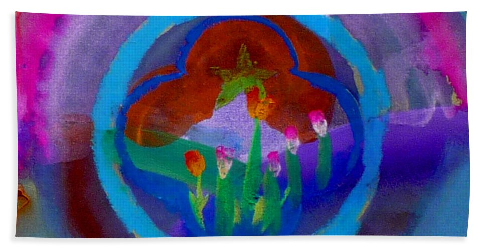 Love Beach Towel featuring the painting Blue Embrace by Charles Stuart