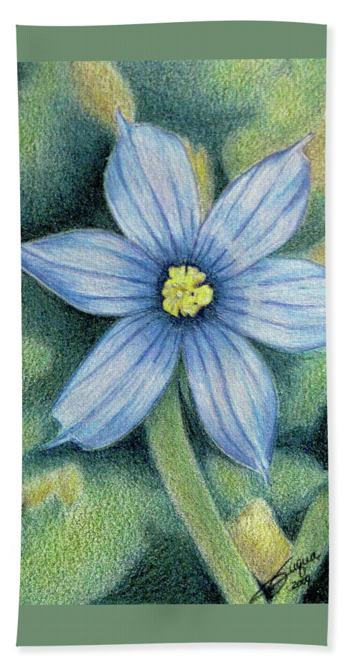 Fuqua - Artwork Beach Towel featuring the drawing Blue Eyed Grass - 1 by Beverly Fuqua