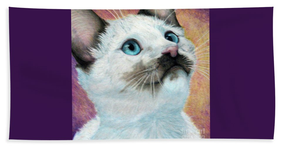Cats Beach Towel featuring the drawing Blue Eyed Prayer by Beverly Fuqua