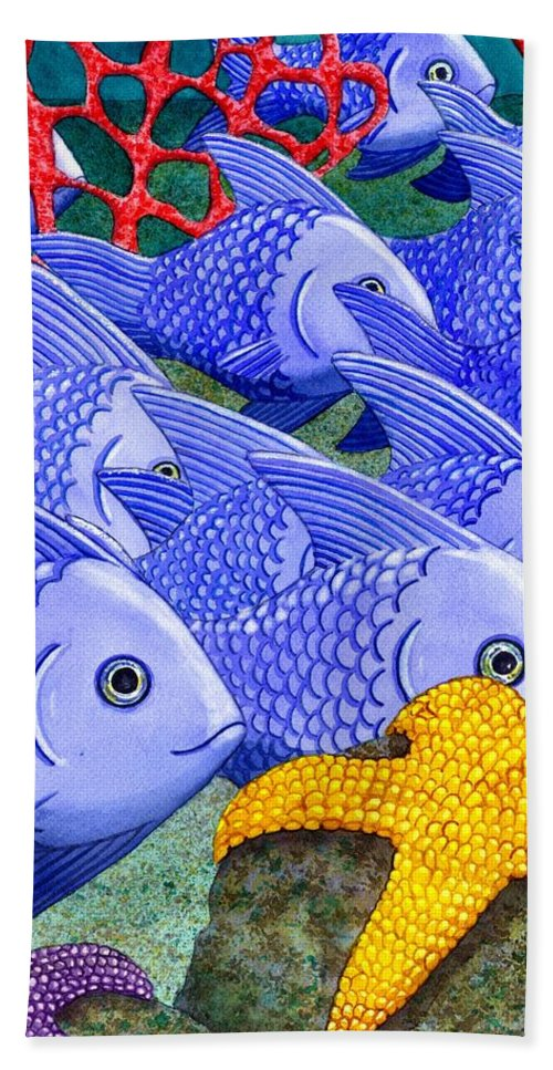 Fish Beach Towel featuring the painting Blue Fish by Catherine G McElroy