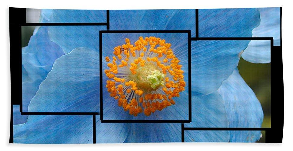 Blue Beach Towel featuring the sculpture Blue Flower Photo Sculpture Butchart Gardens Victoria Bc Canada by Michael Bessler