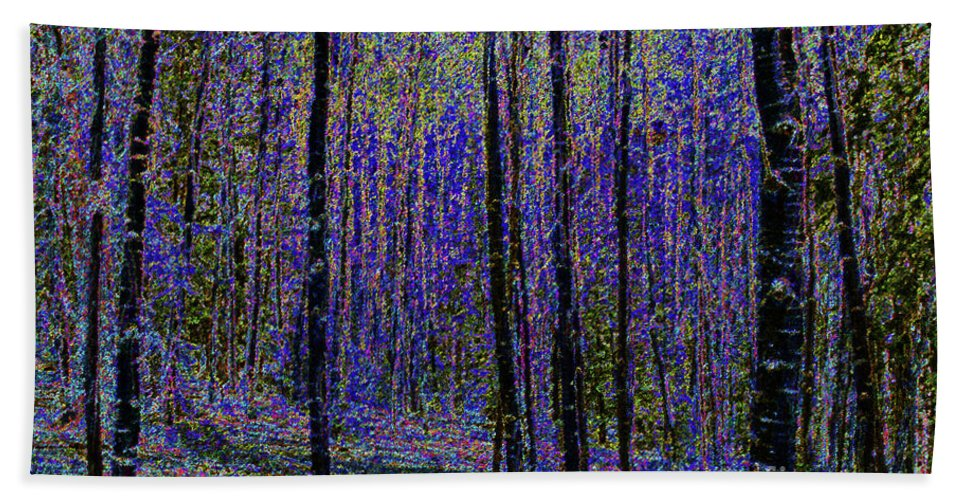 Art Beach Towel featuring the painting Blue Forest by David Lee Thompson