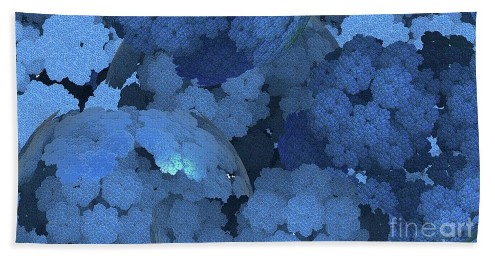 Abstract Beach Towel featuring the digital art Blue Fungi by Ron Bissett