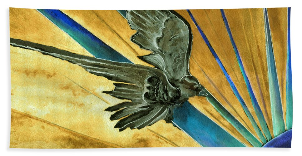 Watercolor Raven Crow Bird Sun Planet Landscape Surreal Fantasy Beach Towel featuring the painting Blue Genesis  by Brenda Owen