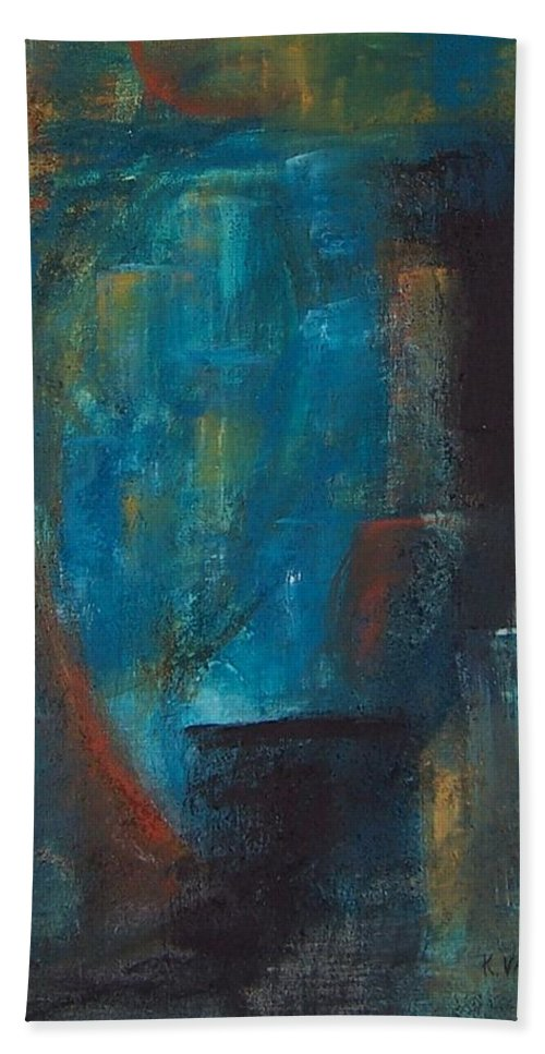 Abstract Beach Towel featuring the painting Blue Grotto by Karen Day-Vath