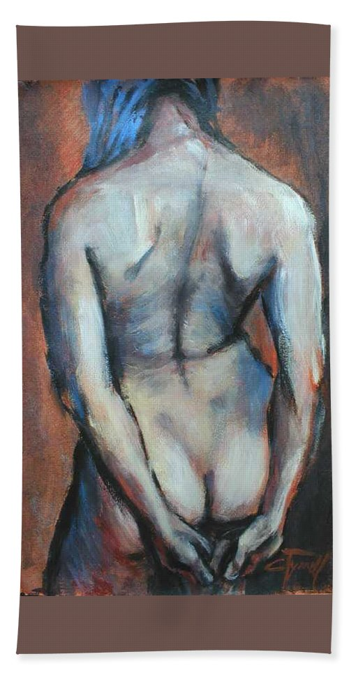 Original Painting Female Nude Drawing Acrylic Blue Hair Beach Towel featuring the painting Blue Hair by Carmen Tyrrell