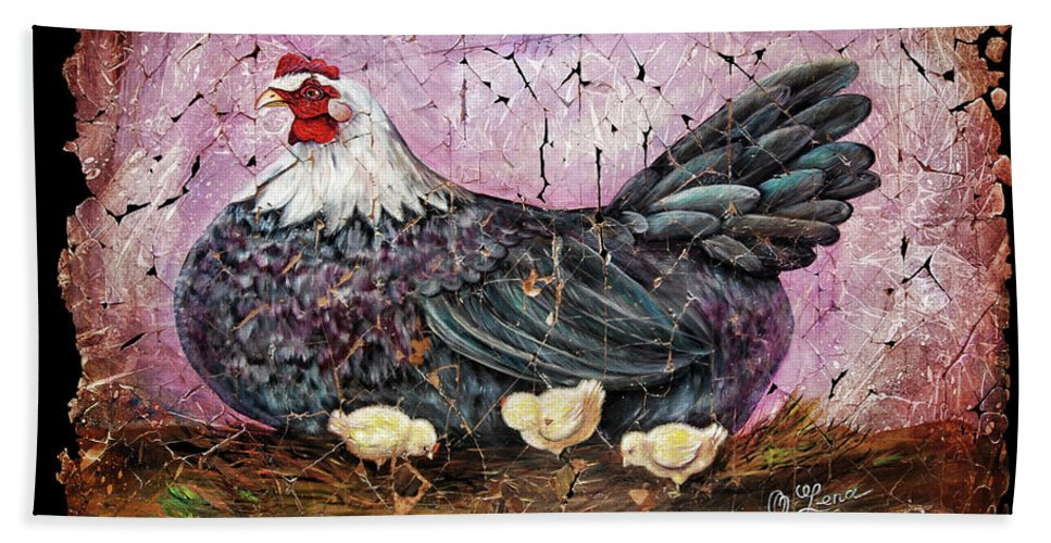 Hen Beach Towel featuring the painting Blue Hen With Chicks Fresco Black Background by Lena Owens OLena Art