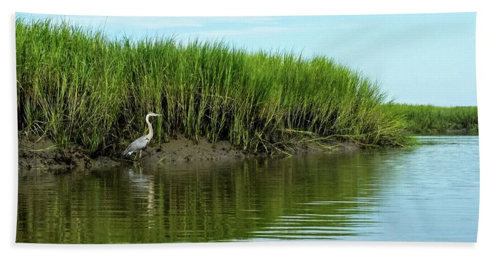 Beach Towel featuring the photograph Blue Heron by Belinda Jane