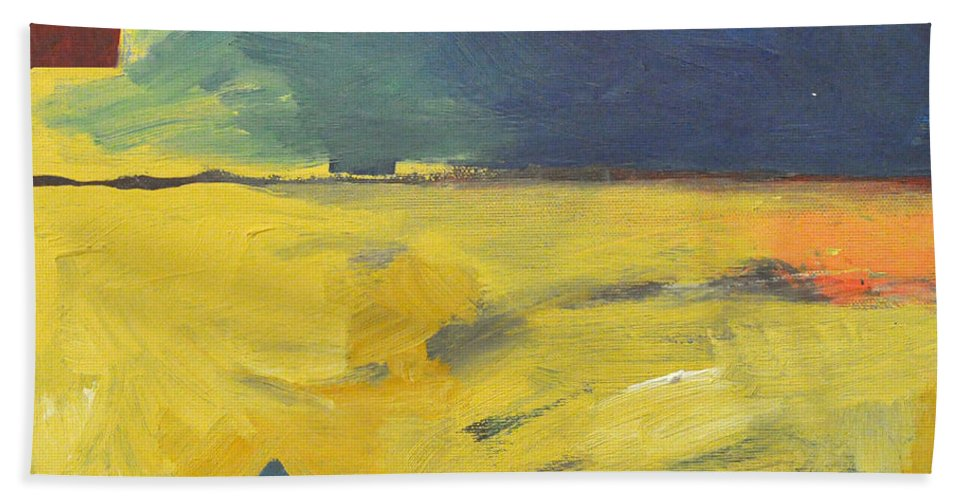 Red Beach Towel featuring the painting Blue House Gold Field by Tim Nyberg