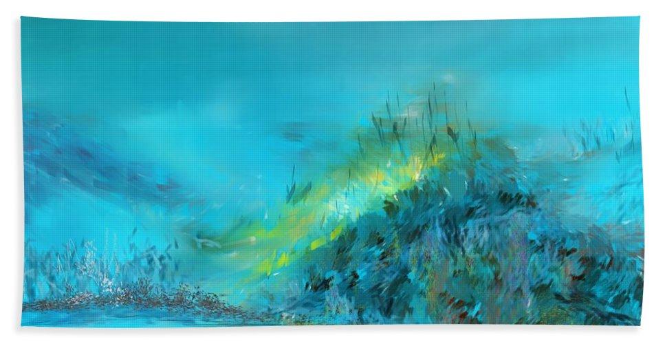 Digital Painting Beach Towel featuring the digital art Blue Impressions by David Lane