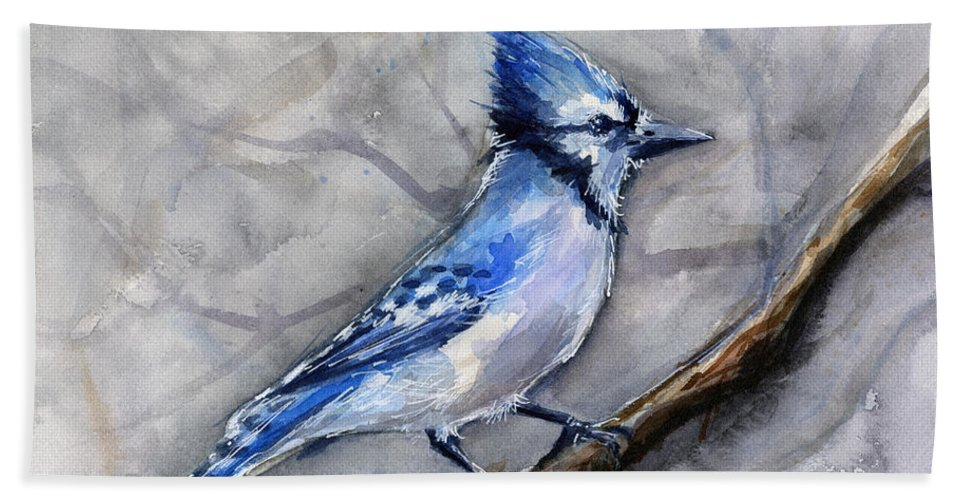 Animal Beach Towel featuring the painting Blue Jay Watercolor by Olga Shvartsur