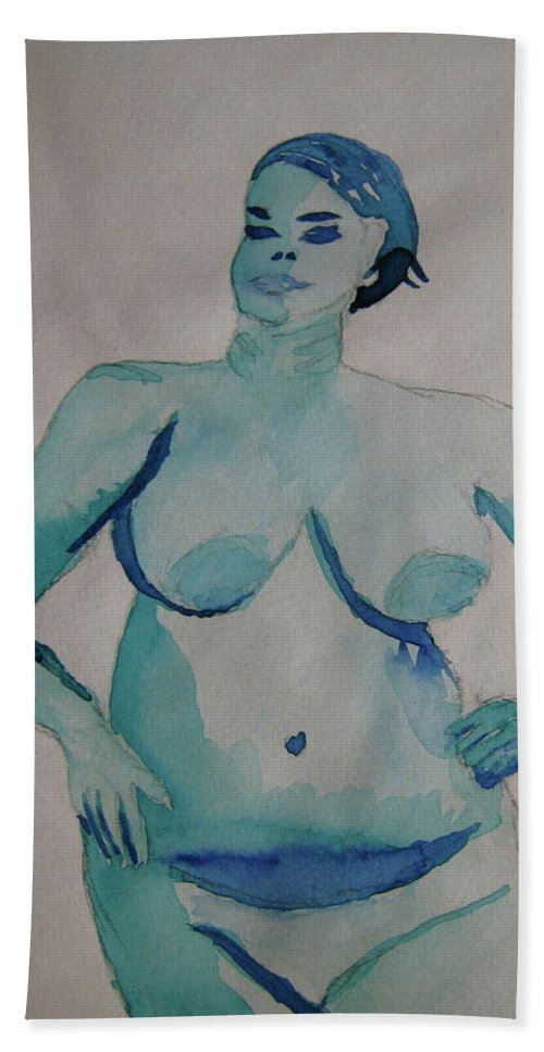 Blue Beach Towel featuring the painting Blue Lady by Beverley Harper Tinsley