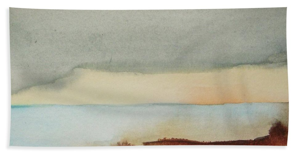 Abstract Beach Towel featuring the painting Blue Lagoon by Vesna Antic