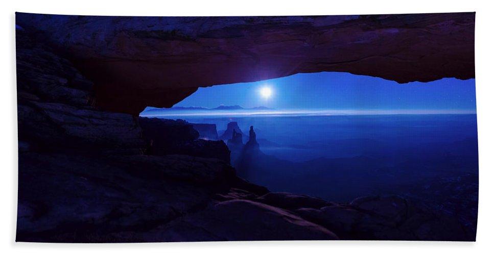 Mesa Arch Beach Towel featuring the photograph Blue Mesa Arch by Chad Dutson
