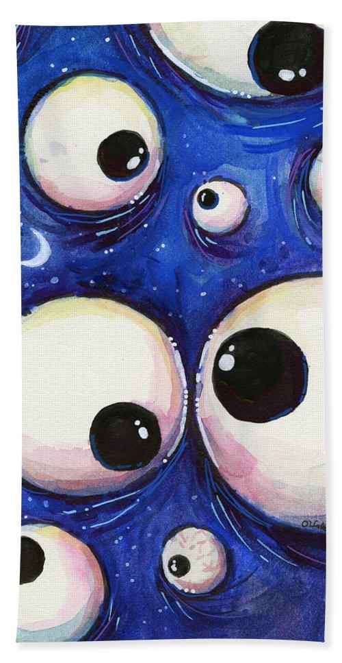 Eyes Beach Towel featuring the painting Blue Monster Eyes by Olga Shvartsur