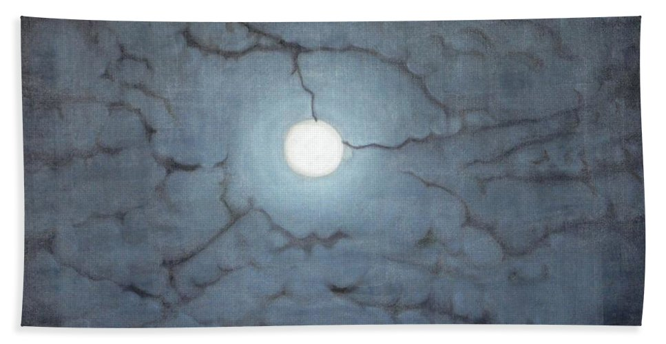 Moon Beach Towel featuring the painting Blue Moon by Usha Shantharam