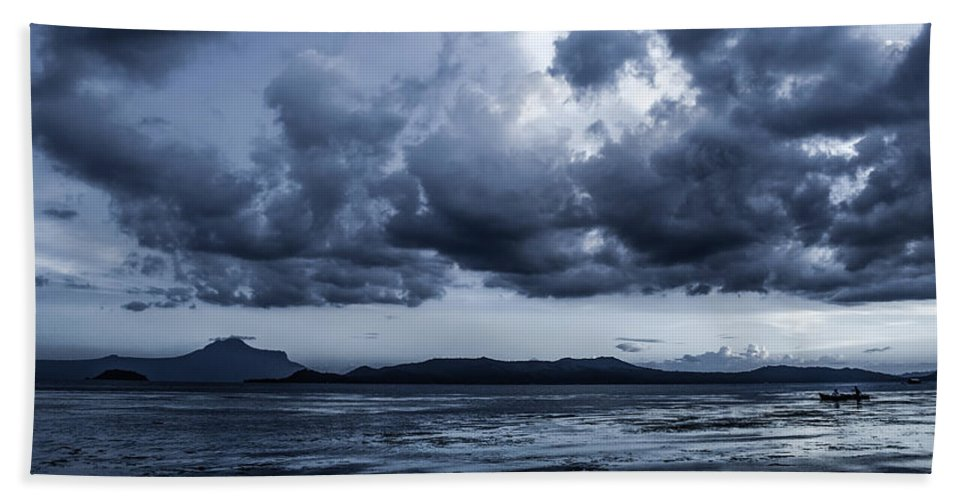 Volcano Beach Towel featuring the photograph Blue Morning Taal Volcano Philippines by Michael Arend