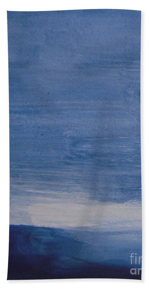 Mountain Beach Towel featuring the painting Blue Mountain Sunset by Vesna Antic