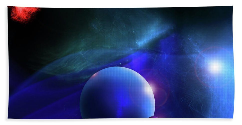 Space Beach Towel featuring the photograph Blue Mystic Nebula by Christopher McKenzie