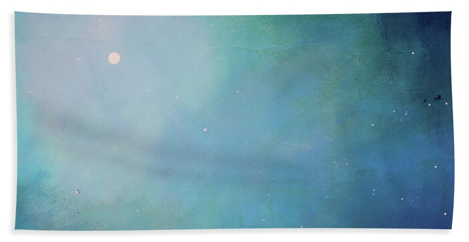 Seascape Beach Towel featuring the painting Blue Night Sky by Toni Grote